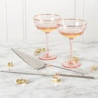 Personalized Blush Rose Gilded Rim Flutes and Serving Set