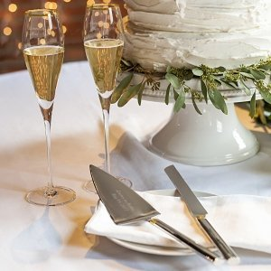 Personalized Gold Champagne Flutes & Cake Serving Set image