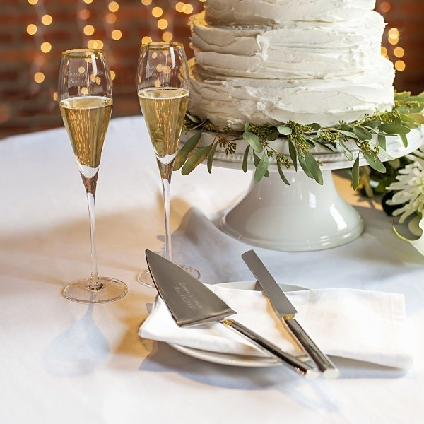 wedding cake serving set and flutes personalized gold champagne flutes amp cake serving set 24298