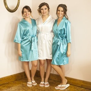 Personalized Satin Robe with Flip Flop Set (3 Colors) image