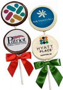3-in Round Logo Chocolate Pops- dozen image