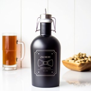 Personalized Groomsman Black Stainless Steel Growler image