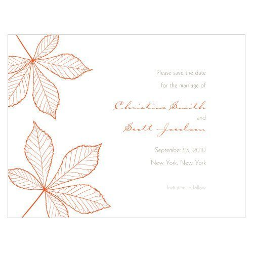 autumn leaf save the date cards set of 8