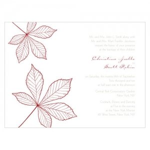 Autumn Leaf Wedding Invites (Set of 4 - 12 Colors) image