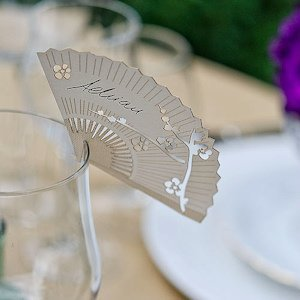 Cherry Blossom Fan Die Cut Place Card image