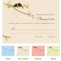 Love Birds RSVP Cards (Set of 8 - 4 Colors)