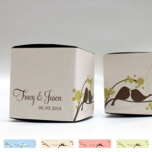 Personalized Love Birds Favor Box Wrap (4 Colors) image