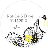 Floral Fusion Personalized Wedding Sticker Labels (5 Colors)