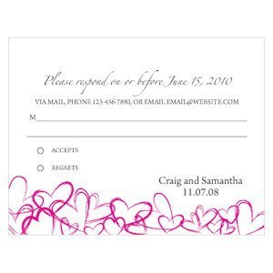 Contemporary Hearts RSVP Cards (Set of 8 - 15 Colors) image
