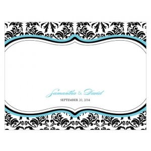 Love Bird Damask Blank Note Cards (Set of 6) image