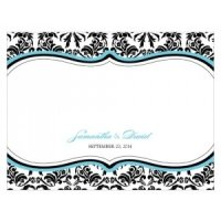 Love Bird Damask Blank Note Cards (Set of 6)