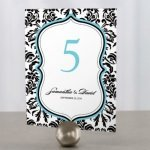 Love Bird Damask Table Number Cards (18 Colors)