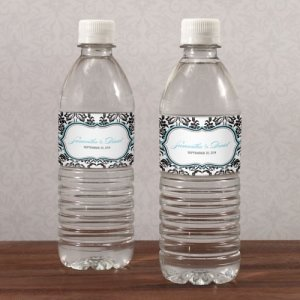 Love Bird Damask Water Bottle Labels (Set of 10) image