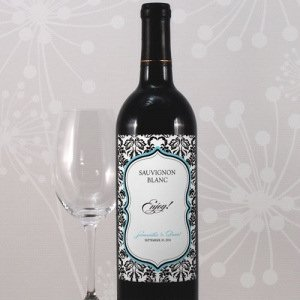 Damask Wedding Wine Bottle Labels (Set of 8) image