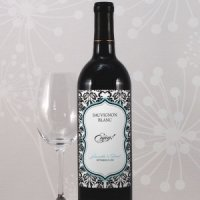 Damask Wedding Wine Bottle Labels (Set of 8)