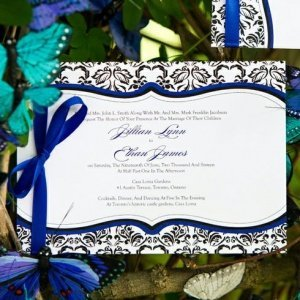Love Bird Damask Wedding Invitations (18 Colors) image