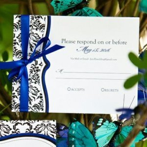 Love Bird Damask RSVP Cards (Set of 8) image