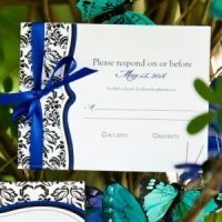 Love Bird Damask RSVP Cards (Set of 8)