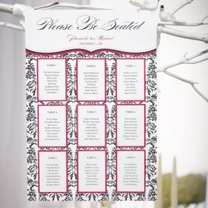 Love Bird Damask Seating Chart Kit (18 Colors) image