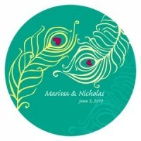 Perfect Peacock Themed Favor Stickers - 2 Sizes (19 Colors)