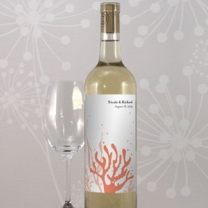 Coral Personalized Wine Bottle Labels (Set of 8 - 5 Colors) image
