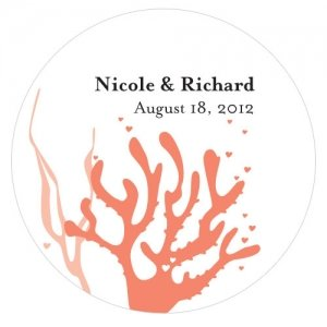 Personalized Coral Beach Wedding Stickers (5 Colors) image