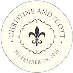 Personalized Fleur De Lis Round Stickers (7 Colors)