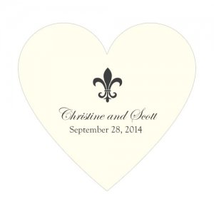 Fleur De Lis Heart Stickers (7 Colors) image