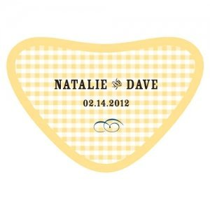 Personalized Plaid Heart Container Sticker (2 Colors) image