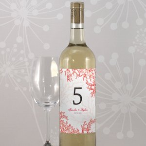 Reef Coral Table Number Wine Bottle Labels (8 Colors) image