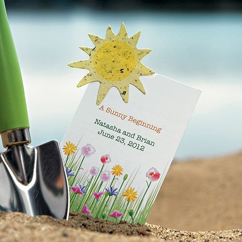 Set Of 10 Country Garden Flower Seed Wedding Favours With: A Sunny Beginning Card With Seed Paper Sun (Set Of 12