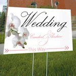 Classic Orchid Wedding Directional Sign (4 Colors)