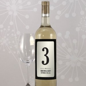 Black Pinstripe Wine Bottle Table Numbers image