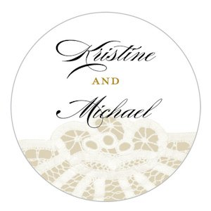 Personalized Vintage Lace Small Sticker (7 Colors) image