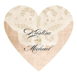 Vintage Lace Personalized Heart Sticker (7 Colors) image