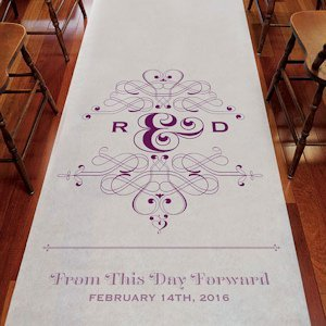 Fanciful Monogram Personalized Aisle Runner (7 Colors) image