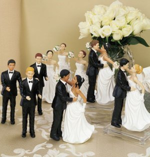 Interchangable Ethnic Bride & Groom Cake Toppers image