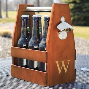 Personalized Wooden Craft Beer Carrier with Opener image