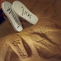 Just Married Bride and Groom Flip Flops