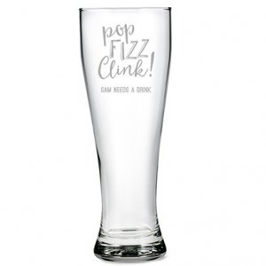 Pop Fizz Clink Giant Engraved Beer Glass Gift image