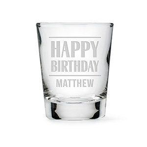 Happy Birthday Etching Personalized Shot Glass image