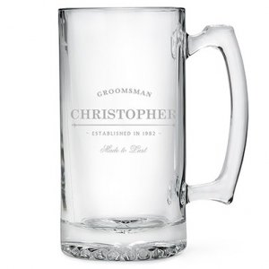 Best Man and Groomsman Etched Glass 25 oz Beer Mug image