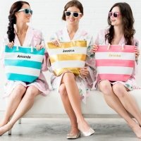 Bliss Personalized Striped Tote (5 Colors)