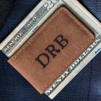 Personalized Tanned Genuine Leather Magnetic Money Clip