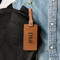 Tanned Genuine Leather Personalized Luggage Tag