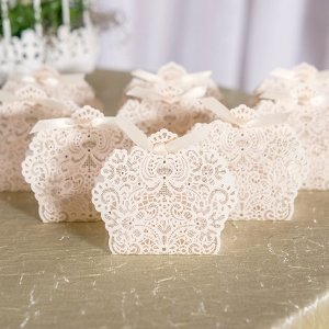 Luscious Foil Lace Favor Box with Ribbon (Set of 10) image