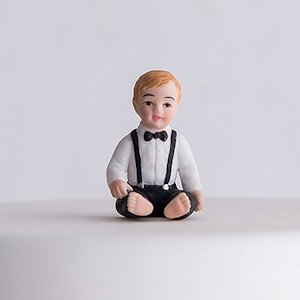 Baby Boy Porcelain Figurine Family Wedding Cake Topper image