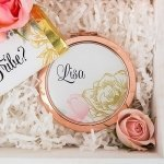 Modern Floral Personalized Designer Compact Mirror (3 Colors