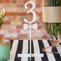Bow Tie White Acrylic Table Number (Numbers 1 - 9)