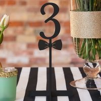 Bow Tie Black Acrylic Table Number (Numbers 1 - 9)